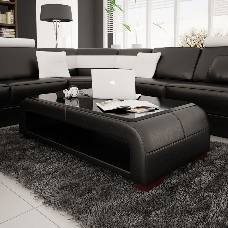 Modern Bonded Leather Coffee Table furniture in Black - $591.6 -- Features: Rectangular ...