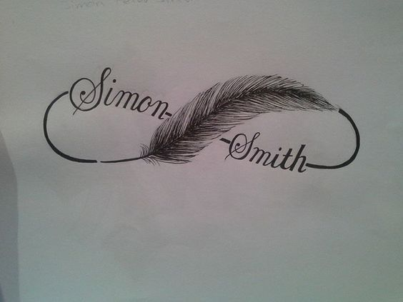 0ece75d336345 infinity symbol with feather and kids' names | Tattoo Ideas | Name ...