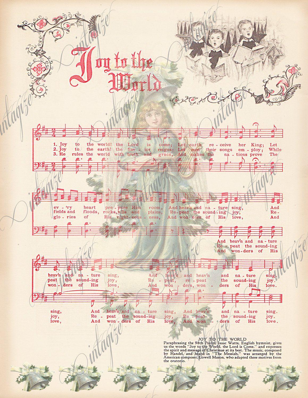 INSTANT DIGITAL DOWNLOAD Joy to the World Printable Vintage ...