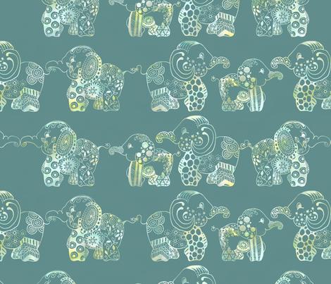 Indian watercolor elephants fabric by ellila on Spoonflower - custom fabric