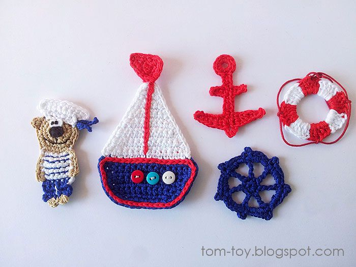 Crochet nautical applique applique crochet