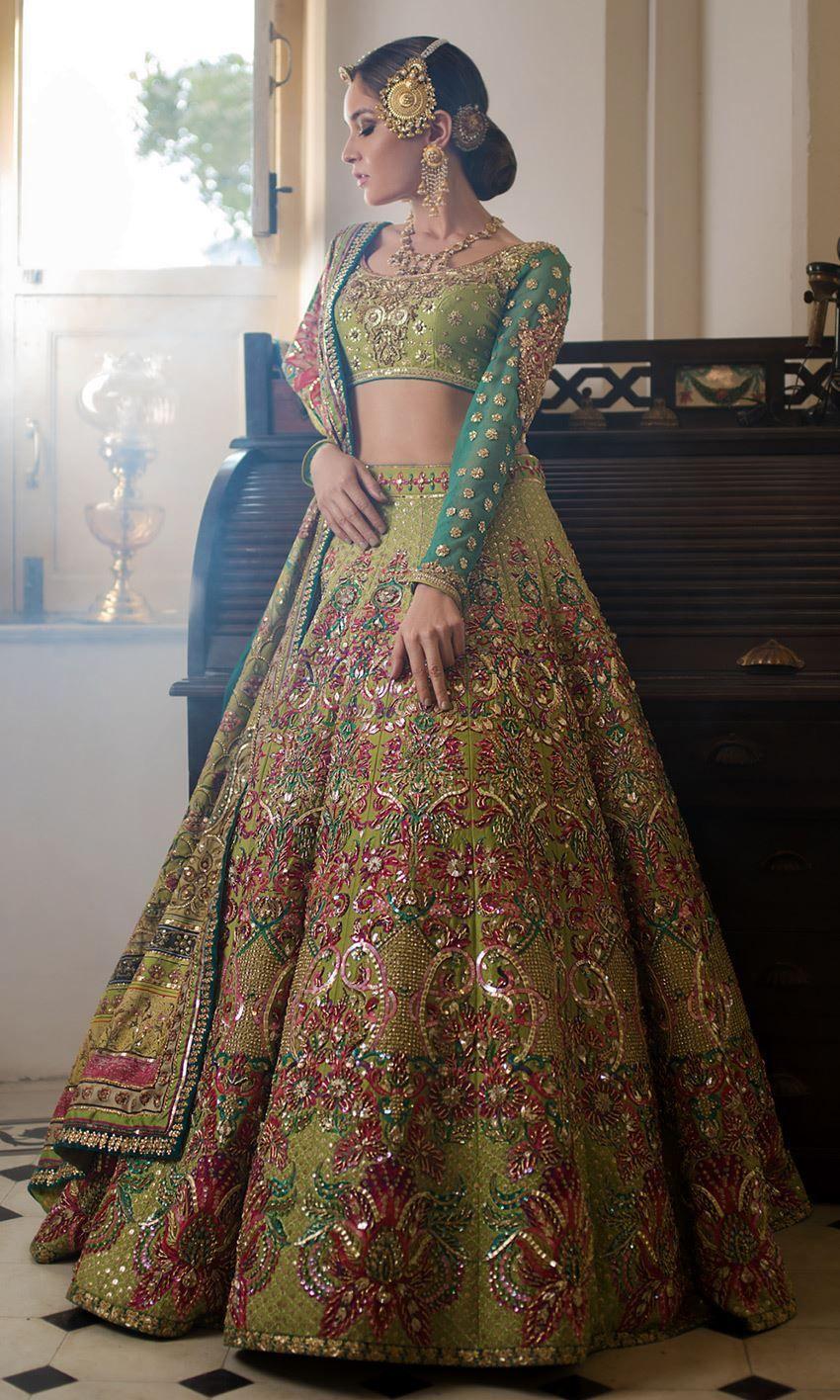 Green Color Wedding lehenga in 2020 Pakistani bridal