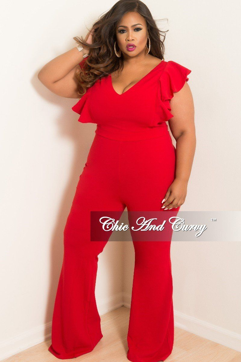 New Plus Size V Neck Jumpsuit With Ruffle Sleeves And Back Zipper In