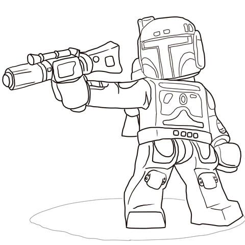 Lego star wars boba fett coloring page colouring for Lego jango fett coloring pages