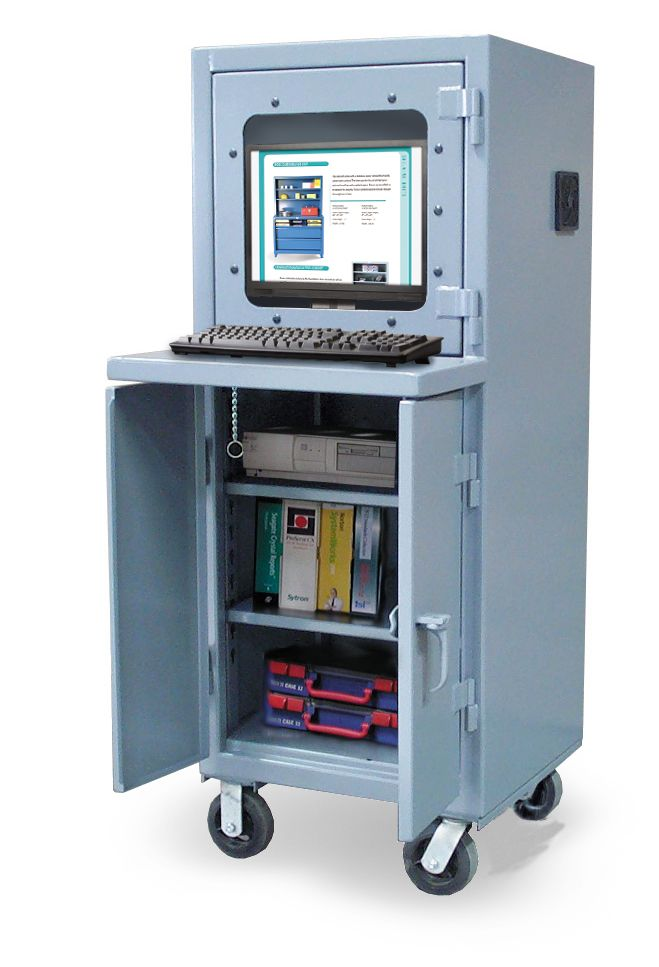 Mobile Computer Cabinet with Welded Shelf - Our mobile ...