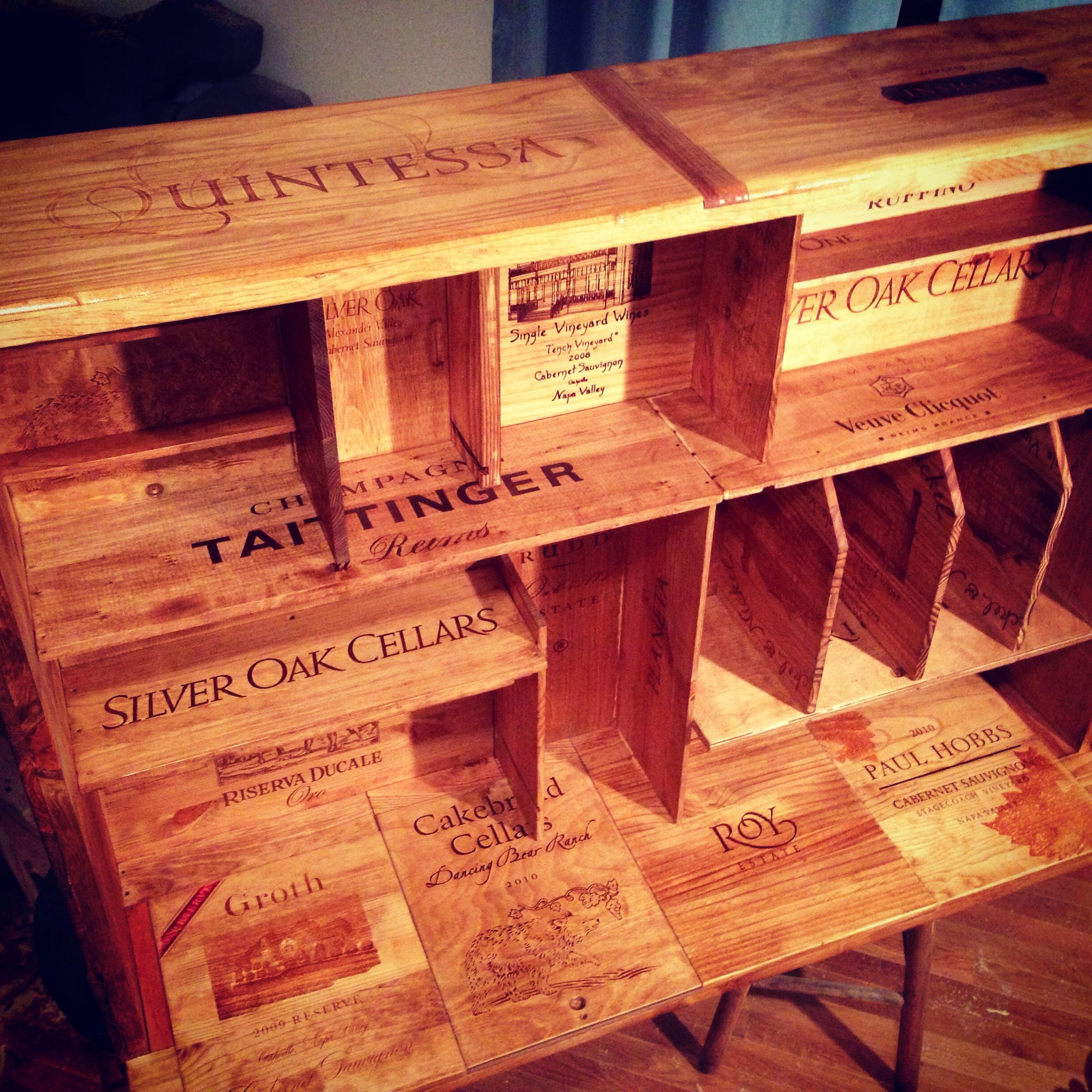 Home Entertainment Shelving Unit Made From Wine Crates Wine Crate Crates Diy Decor