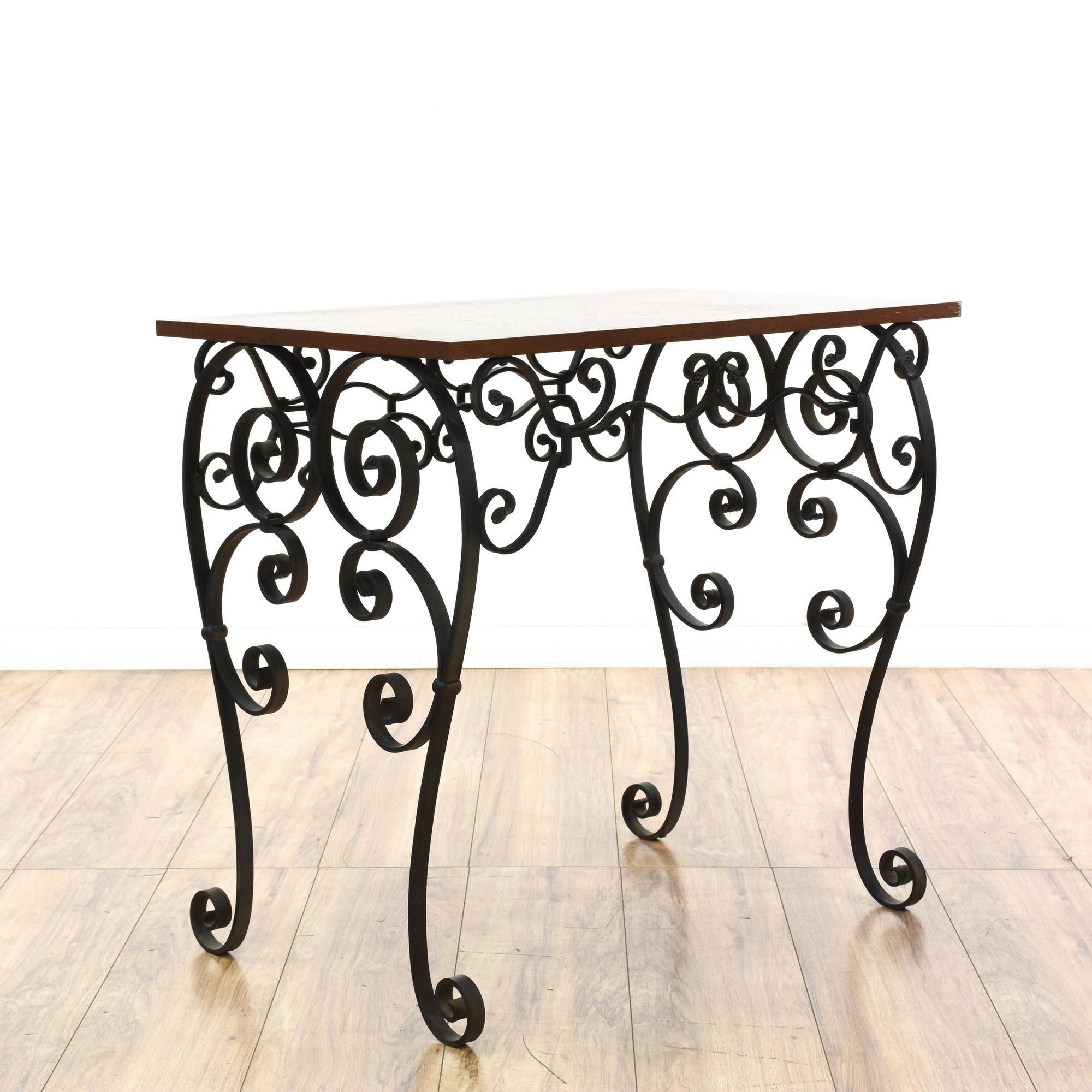 Scrolled Wrought Iron Wood Top Side Table Table Small Console
