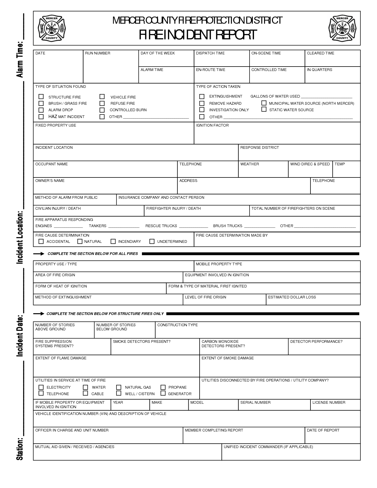 Report Template Fire Department Incident Form Accident And  Home