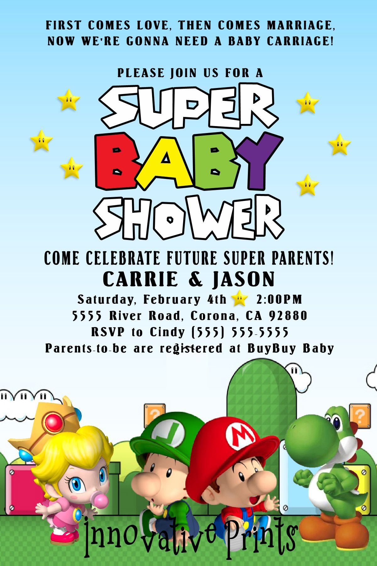 Super Mario Baby Shower Invitation To Place Orders And Follow Me On