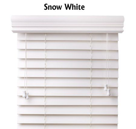 Amazon Com Premium 2 Inch Faux Wood Blinds Snow White 18 X 60 2 For Kitchen Sides Faux Wood Window Blinds Faux Wood Blinds White Wood Blinds