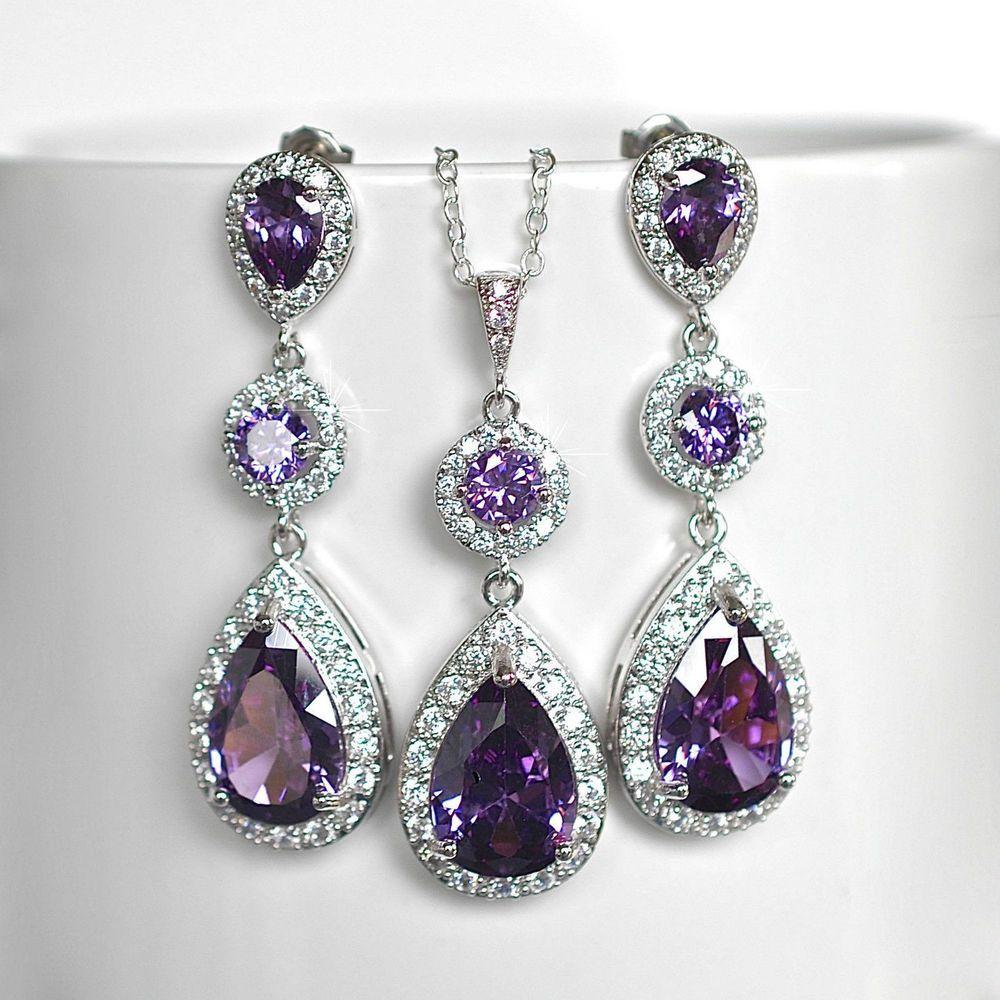 Amethyst Purple Cubic Zirconia CZ Bridal Necklace
