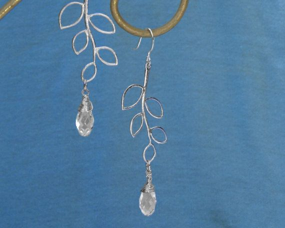 silver leaf earrings in with faceted clear teardrop by GojoDesign