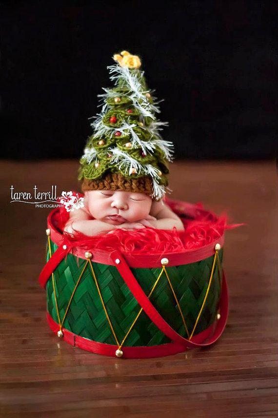 Boy / Niñas Crochet sombrero de la Navidad Tree - Patrón PDF ...