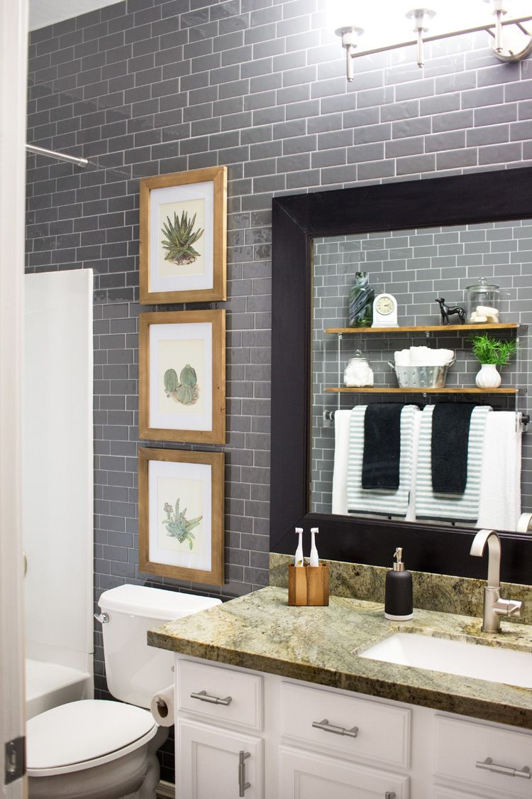 Peel And Stick Gray Subway Tile Bathroom The Home Depot Blog Subway Tiles Bathroom Smart Tiles Bathroom Wall Tile