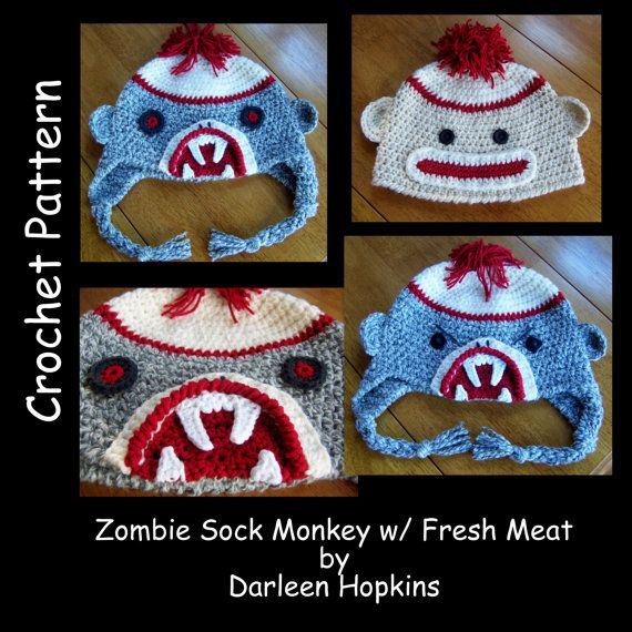 Crochet Pattern Zombie Sock Monkey Hat By Crochetbydarleen On Etsy