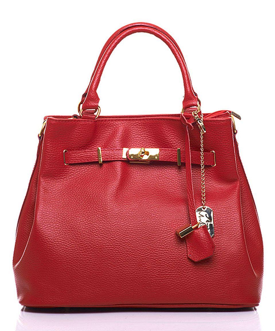Look at this #zulilyfind! Anna Morellini Red Leather Lock Satchel by Anna Morellini #zulilyfinds