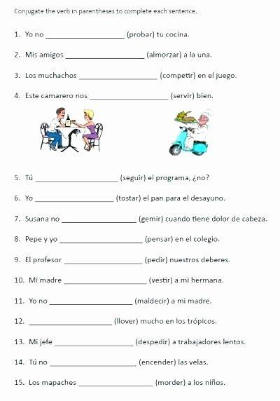 Spanish Reflexive Verbs Worksheet Printable Practice