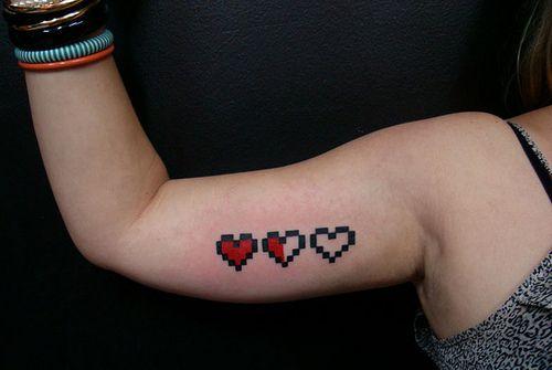 8 Bit Heart Tattoo Tattoos Pixel Tattoo Nintendo Tattoo