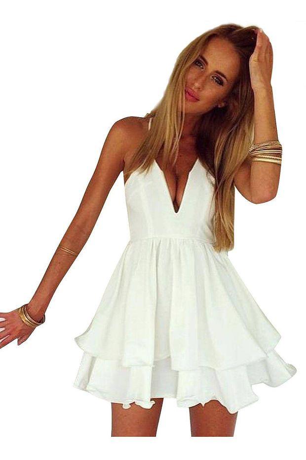 2016fc8b5c12 White Spaghetti Strap Double Layer Cami Chiffon Dress