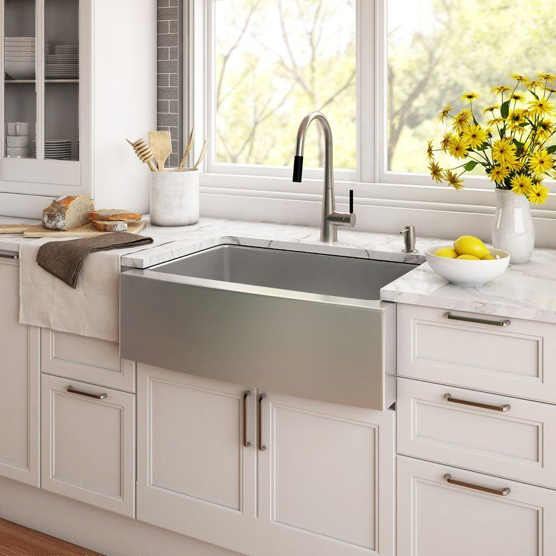 33 L X 21 W Farmhouse Apron Kitchen Sink With Basket Strainer Rustic Kitchen Sinks Farmhouse Sink Kitchen Stainless Steel Farmhouse Sink