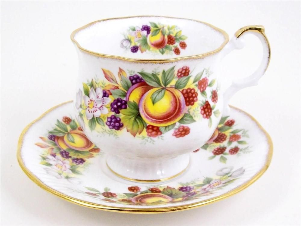 Vintage Bone China Tea Cup Berries Fruit Rosina 1952 Footed Gold Trim Antiques Tea Cups Bone China Tea Cups Tea