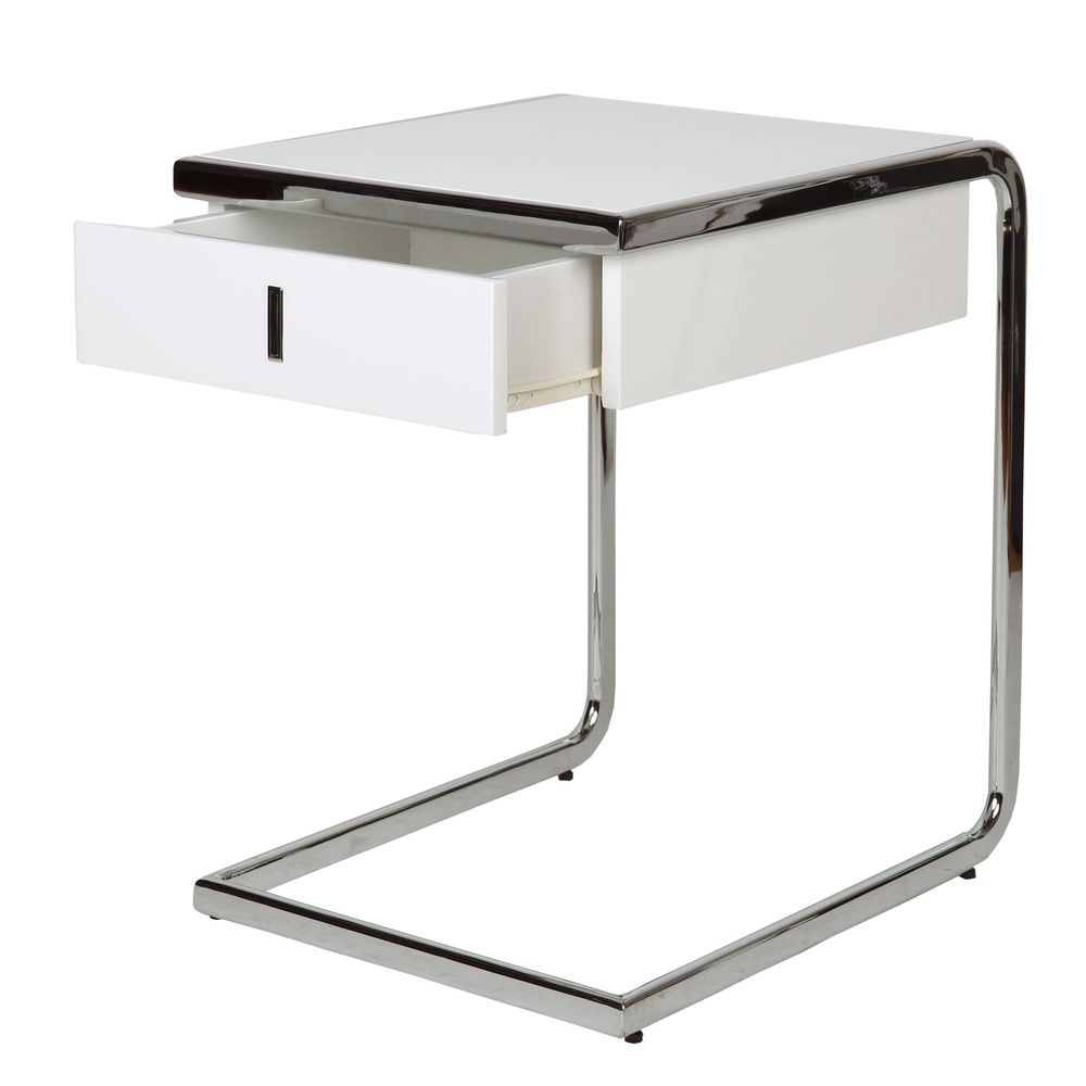 White Chrome Side Table With Drawer Overstock Com Shopping Great