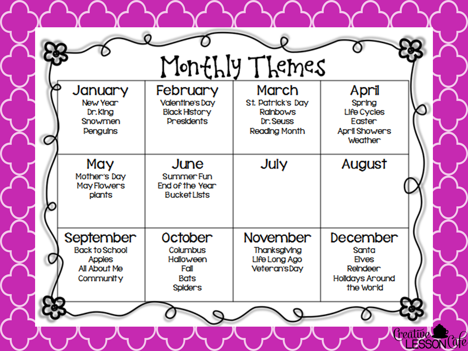 Calendar Ideas For Each Month For Boyfriend : Creative lesson cafe freebie classroom organization by