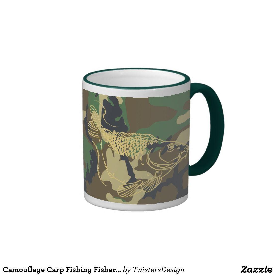 Camouflage Carp Fishing Fisher Lake Fishes Mug #fishing #