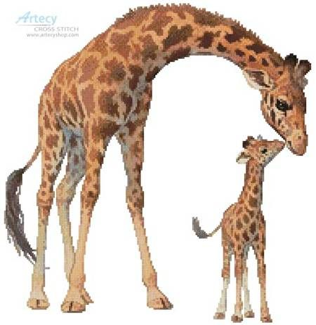 MOTHER AND CALF GIRAFFE CROSS STITCH CHART