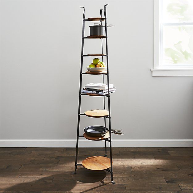 Enclume Standing 8 Tier Pot Rack With Wood Trivets Crate And Barrel