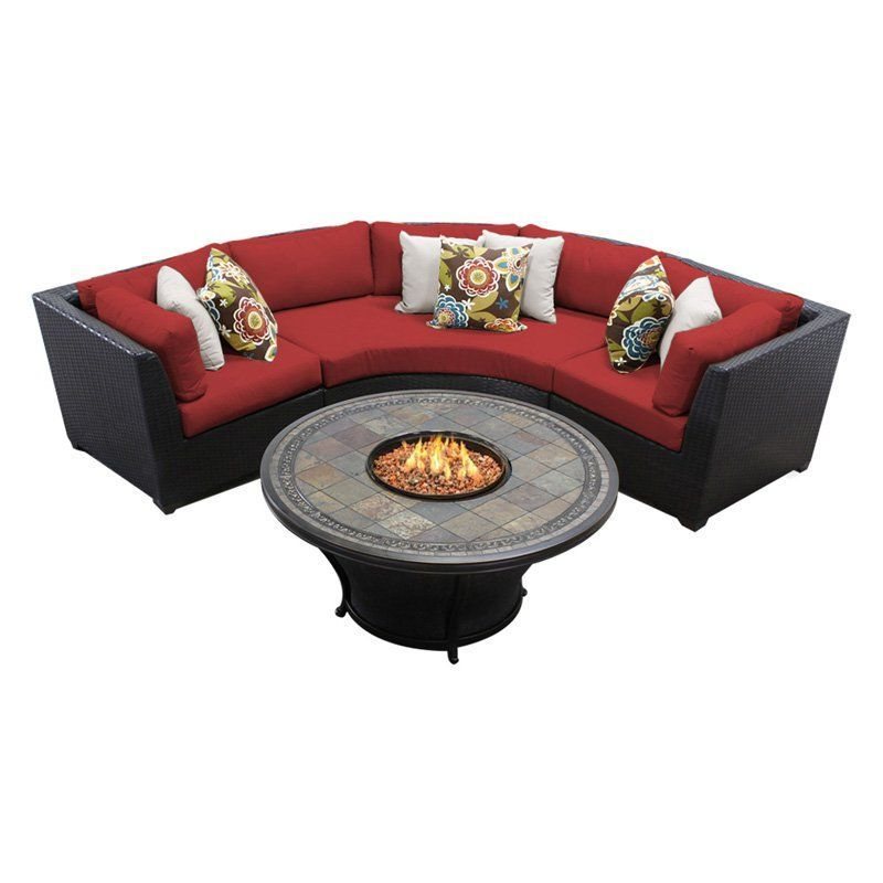 Outdoor TK Classics Barbados Wicker 4 Piece Patio Conversation Set with Fire Pit Table and 2 Sets of Cushion Covers Terracotta - BARBADOS-04D-TERRACOTTA