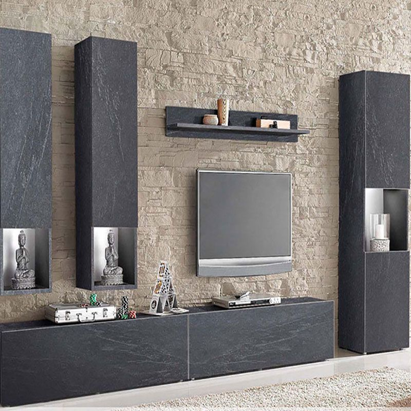 ensemble meuble tv effet pierre design granite | décoration d ... - Meuble Living Design