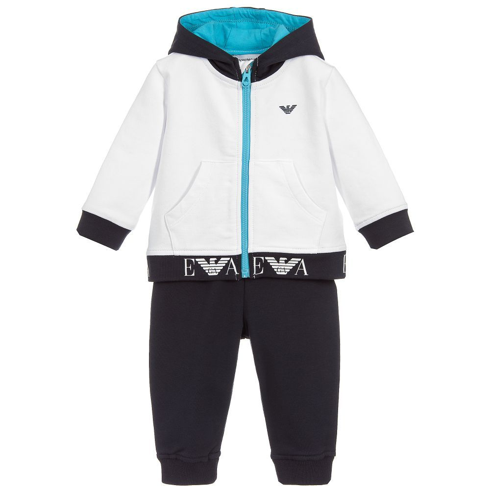 388a38b1bce Younger boys navy blue and white tracksuit from Emporio Armani