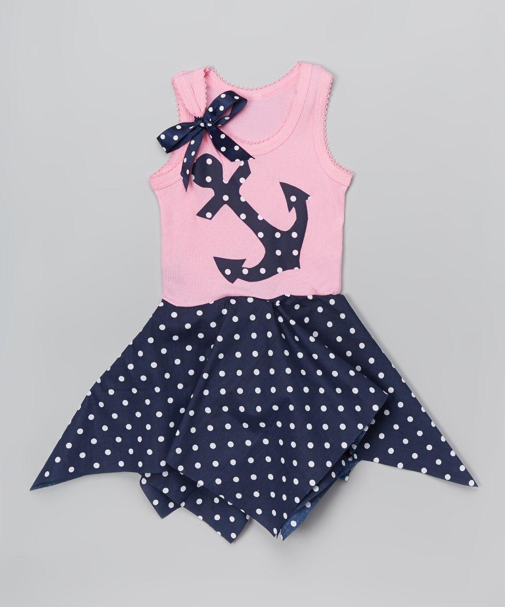 Pink & Navy Dot Handkerchief Dress - Infant Toddler & Girls