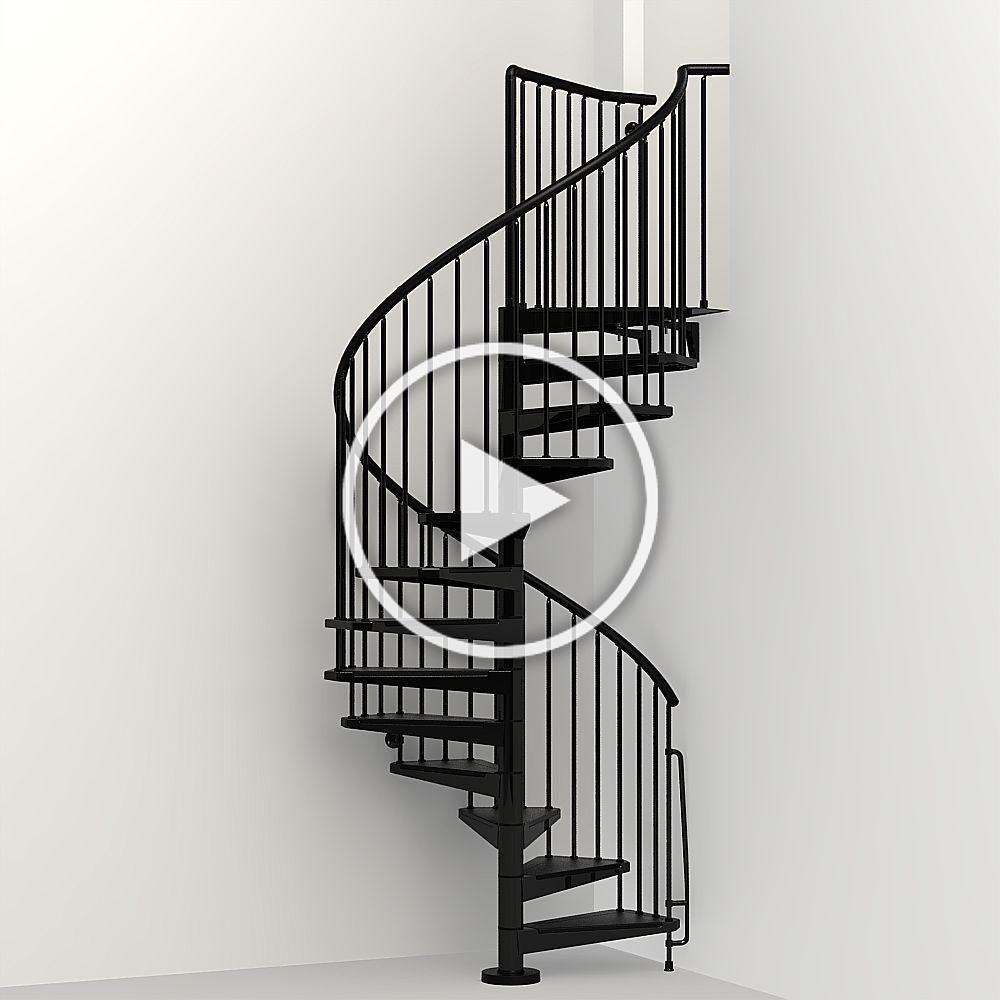 Arke Civik 63 in. Black Spiral Staircase Kit