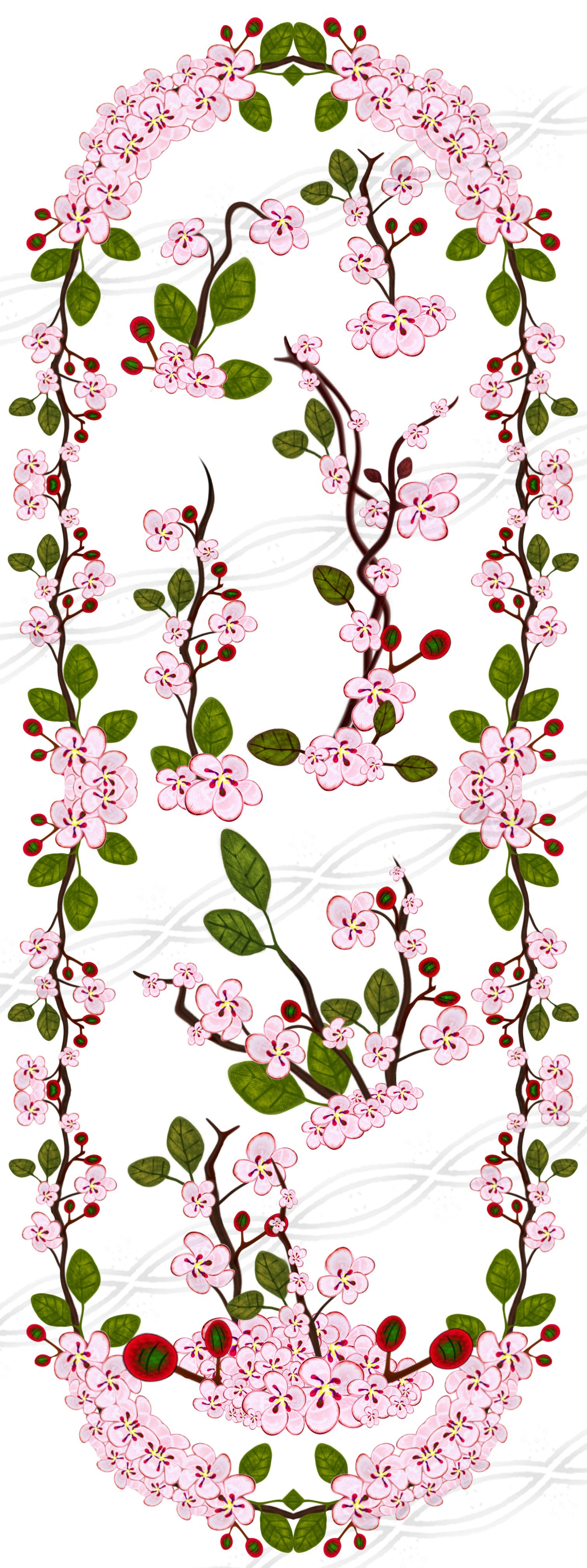 Cherry blossom borders and frames digital clip art, wedding ...