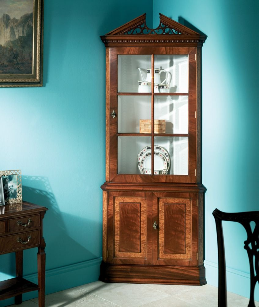 Mahogany Corner Cabinet With Glass Front Doors