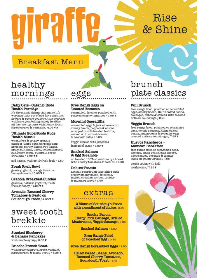 Giraffe Menu design Irving & Co Restaurant menu design