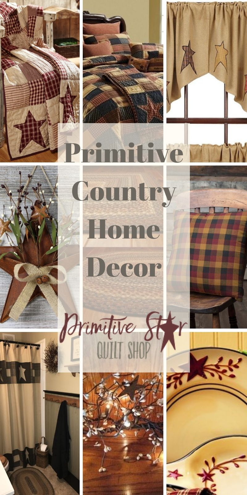 Photo of Primitive country patchwork quilts and curtains for your home decor.