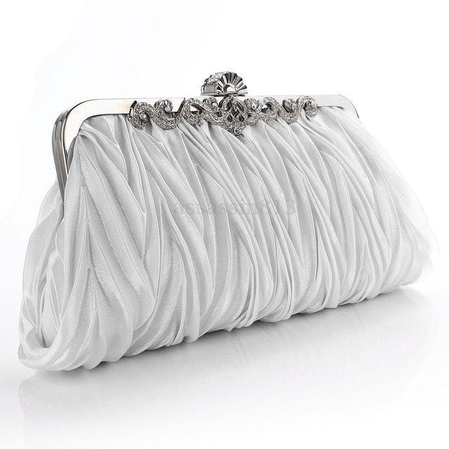 Photo of Women Lady Satin Crystal Bridal Handbag Clutch Party Wedding Purse Evening Bag Pleated Day Clutches Solid Ladies Handbags – I