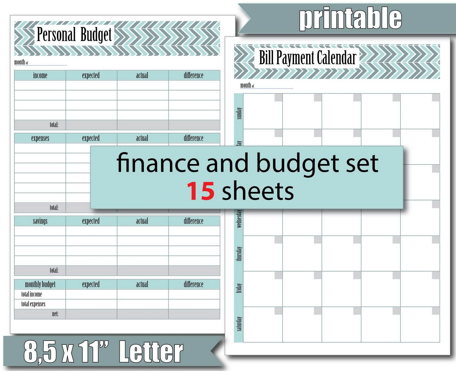 Printable Monthl Budget Template Money Tracker Finance Tracker Savings Tracker Expenses