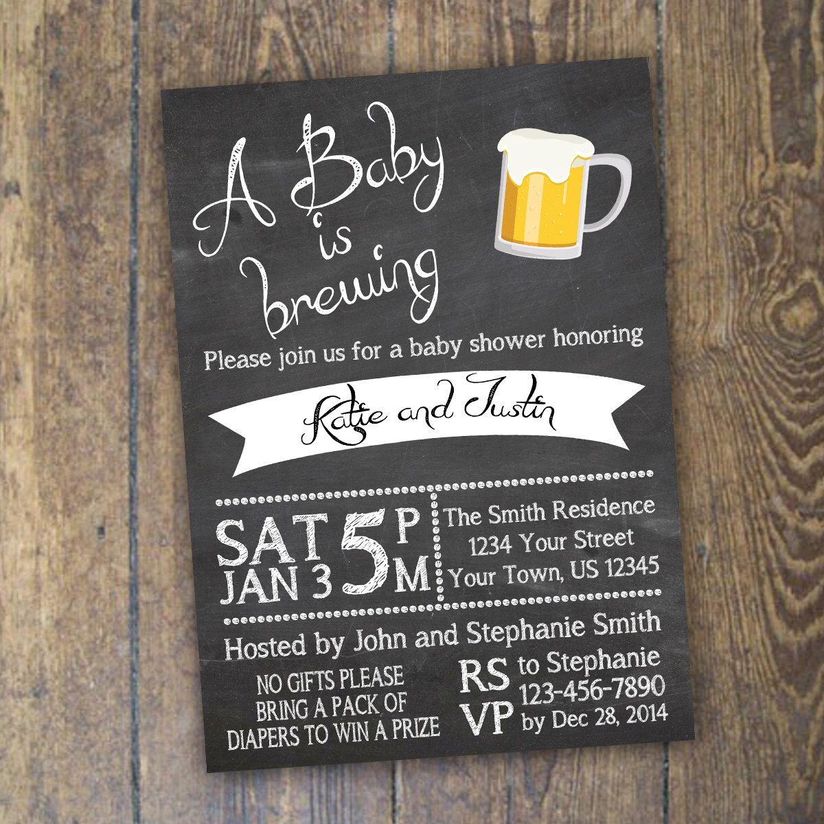 Baby Brewing Invitation Baby Shower Invitation Beer Baby Shower