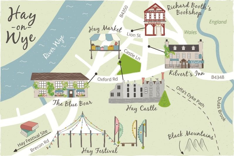 Hay On Wye Map Illustrated Map of Hay on Wye for Discover Britain Magazine