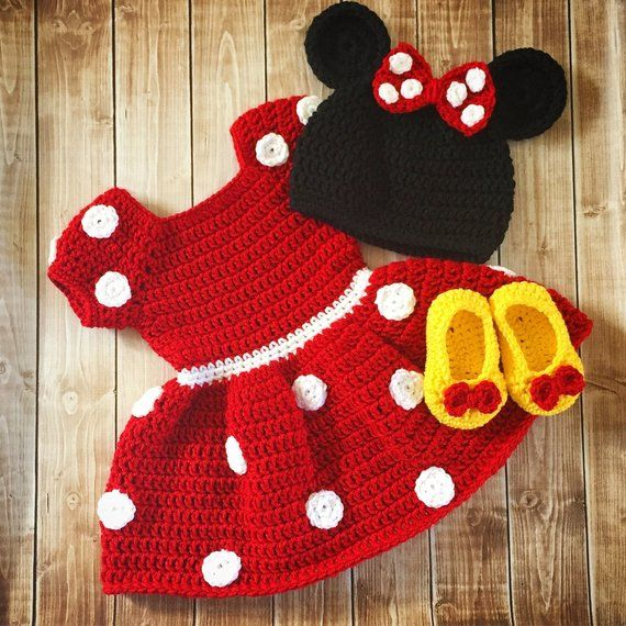 Minnie Mouse Inspired Costume/Minnie Mouse Hat/ Minnie Mouse Costume Available in Newborn to 12 Month Size- MADE TO ORDER #vestidosparabebédeganchillo