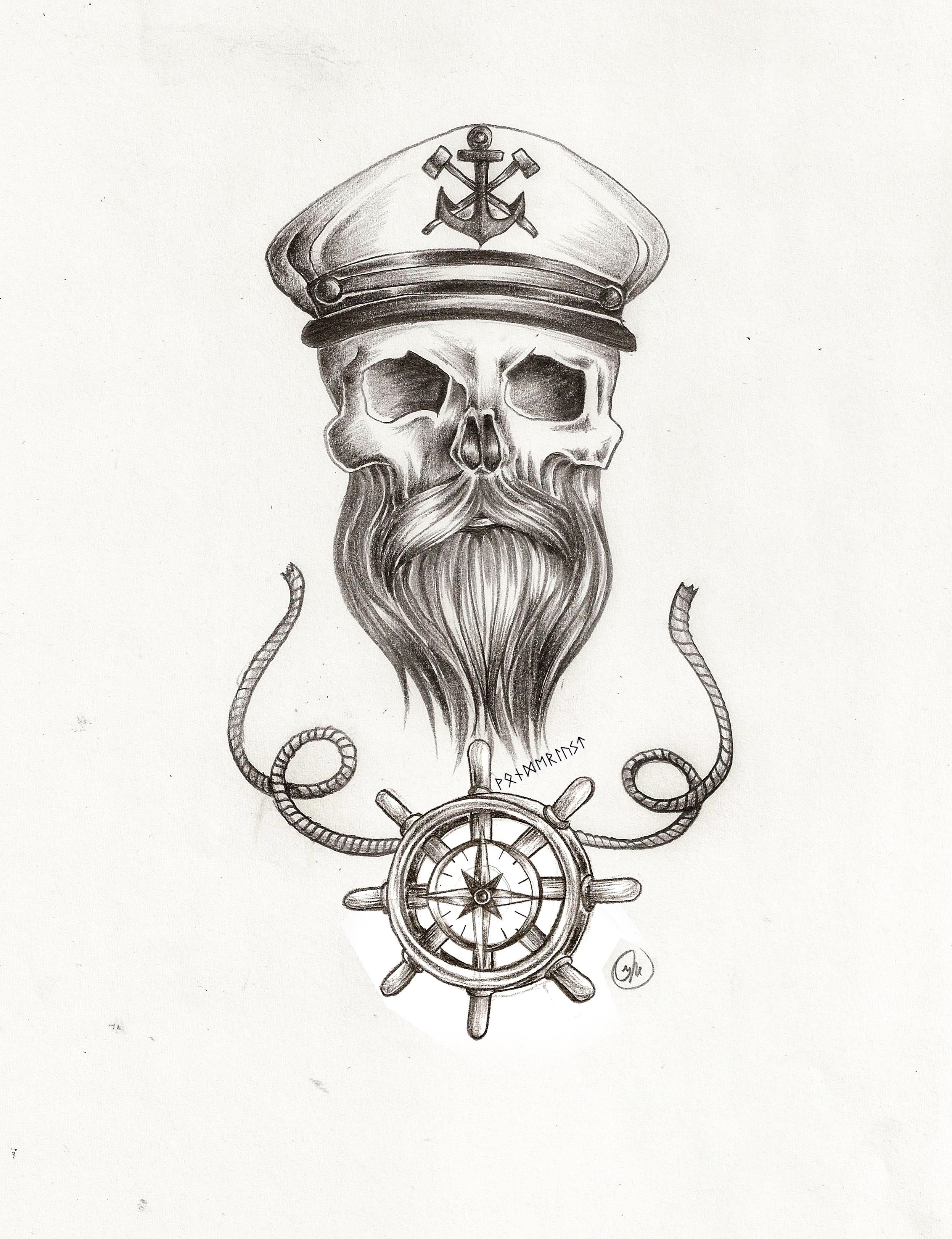 beard skull nautical tattoo pencil sketch with sailor captains hat and steering with rope detail. Black Bedroom Furniture Sets. Home Design Ideas