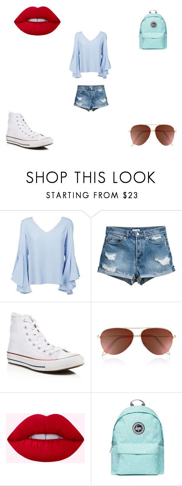 """""""Blue Skies"""" by futurestar04 ❤ liked on Polyvore featuring Dondup, Converse, Victoria Beckham and Topshop"""