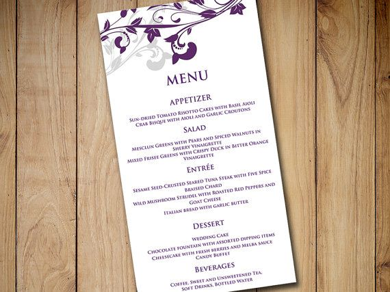 Wedding Menu Card Template Whimsical Vines Eggplant Purple Silver Gray Diy