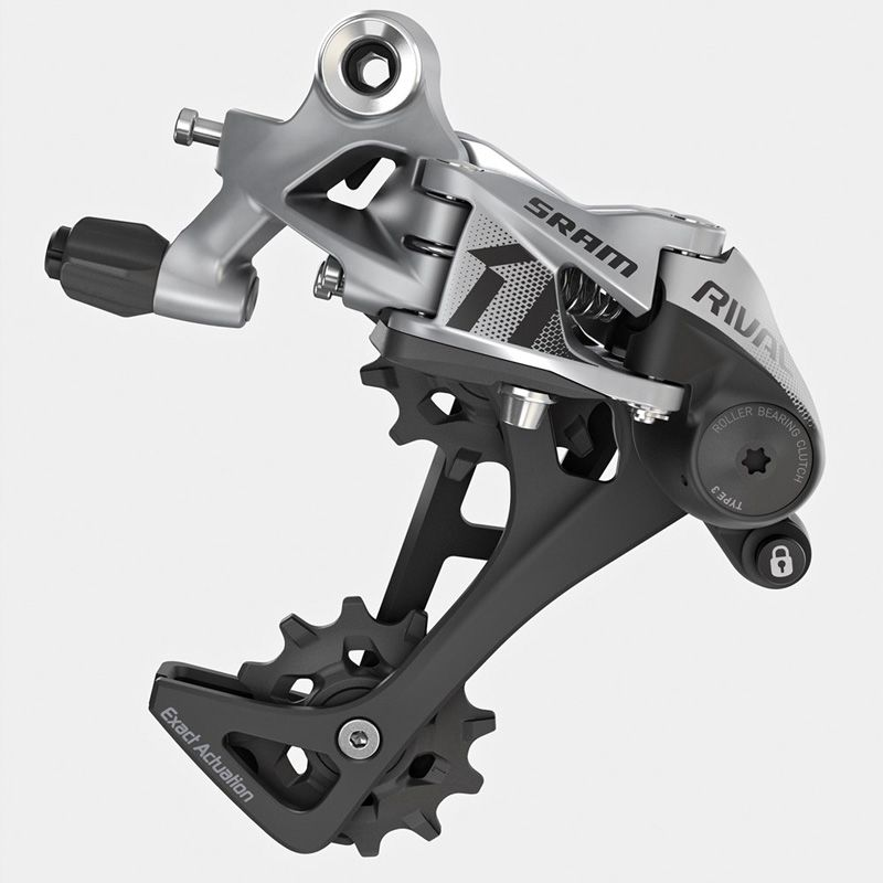 Sram Rival 1 11V achterderailleur lange kooi grijs  SRAM Rival 1 Rear Derailleur  Your needs aren't less demanding they're different. The SRAM Rival 1 rear derailleur is engineered for smooth reliable shifting action delivering 100% of what you demand. By eliminating unwanted chain movement X-HORIZON shifts faster reducing shift effort and chain slap.  X-HORIZON design reduces shift force while eliminating ghost shifting and chain slap  Large upper pulley offset automatically adjusts chain…