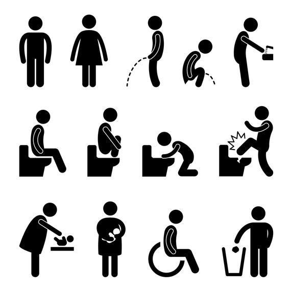 Toilet Man Woman Male Female Restroom Baby Room Mother Etsy In 2021 Pictogram Toilet Icon Bathroom Symbols