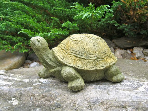 Turtle Statue Stretching Painted Concrete Garden Figure Cement